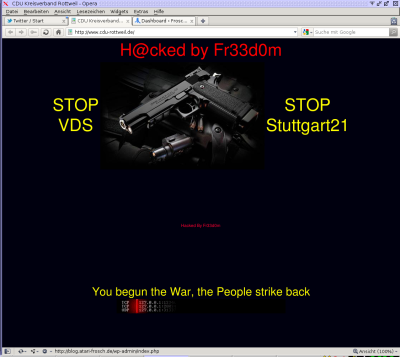 H@cked by Fr33d0m STOP VDS STOP Stuttgart21 You begun the war the people strike back