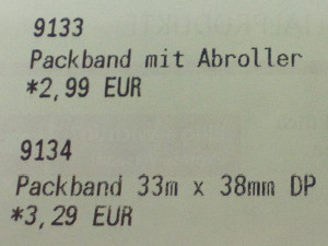 Packband ohne Abroller: 3,29€, Packband mit Abroller: 2,99€